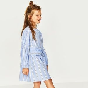 Zara girls blue striped dress with bow